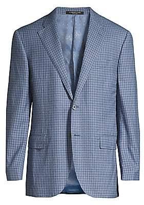 Corneliani Men's Regular-Fit Plaid Wool Jacket