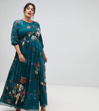 Little Mistress Plus long sleeve maxi dress in floral print
