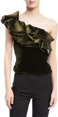 Johanna Ortiz Lorca One-Shoulder Velvet Bodysuit