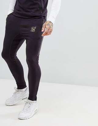 SikSilk joggers in navy with logo