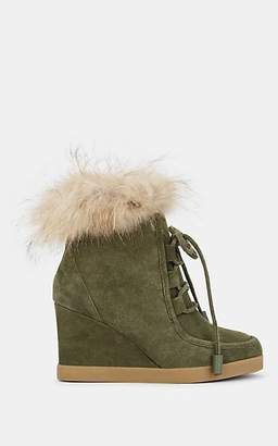 Barneys New York WOMEN'S SUEDE PLATFORM-WEDGE ANKLE BOOTS - DK. GREEN SIZE 10