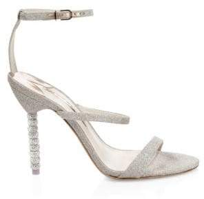 Sophia Webster Rosalind Crystal Glitter Leather Ankle-Strap Sandals