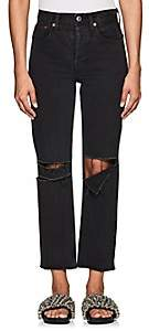 RE/DONE Women's High-Rise Stovepipe Distressed Crop Jeans - Black