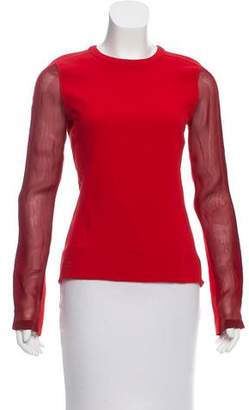Reed Krakoff Long Sleeve Inset-Accented Top