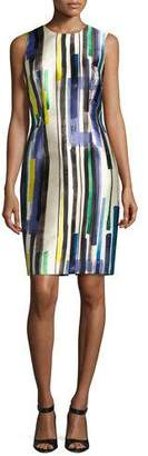 Carmen Marc Valvo Sleeveless Striped Twill Cocktail Dress, Multicolor $575 thestylecure.com
