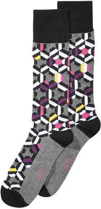Alfani AlfaTech by Men's Patchwork Multi Geo Dress Socks, Created for Macy's