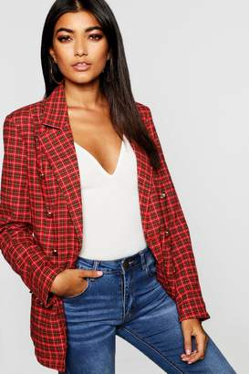 boohoo Double Breasted Gold Button Tartan Blazer