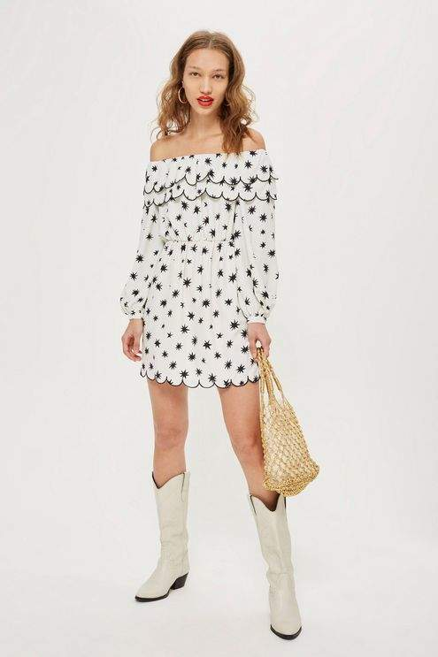 Scallop star bardot dress