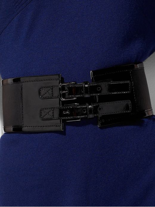 Wide patent double-buckle belt