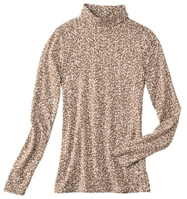 Merona Women's Turtleneck Tee - Animal Prints