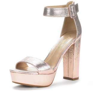 DREAM PAIRS HI-LO Women's Evening Dress High Chunky Platform Heel Open Toe Ankle Strap Stiletto Wedding Pumps Sandals Champ Pearl Size 10
