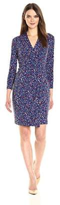 Anne Klein Women's Three Quarter Sleeve Vneck Side Rouched Printed Jersey Dress