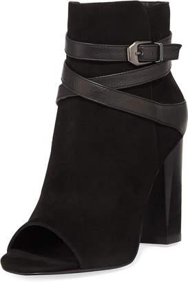 Pelle Moda Adrina Open-Toe High-Heel Suede Booties