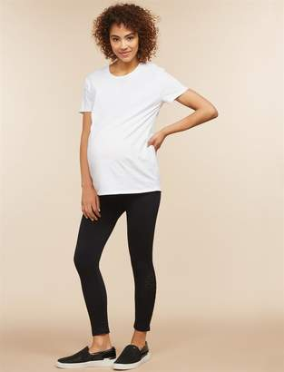 Motherhood Maternity Under Belly Laser Cut Maternity Crop Leggings