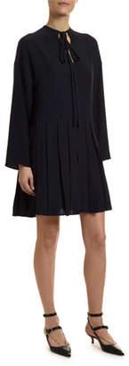 Valentino Go Logo Satin Long-Sleeve Tie-Neck Dress