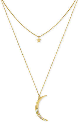 Rachel Roy Gold-Tone Moon and Star Layer Pendant Necklace