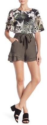 Cynthia Steffe CeCe by Tiered Ruffled Belted Shorts