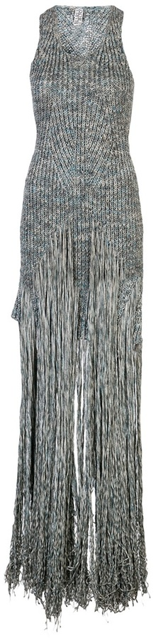 Maria Dora ribbed fringe gown