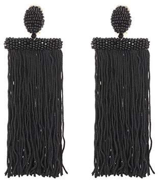 Oscar de la Renta Fringed clip-on earrings
