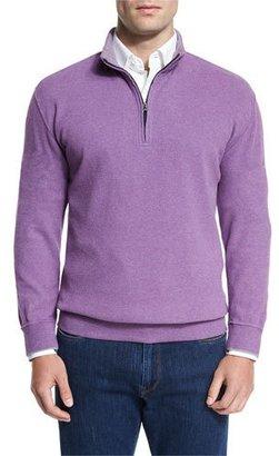 Peter Millar Melange Fleece Quarter-Zip Sweater, Snapdragon $145 thestylecure.com