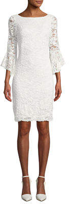 Neiman Marcus Lace Bell-Sleeve Sequin Dress