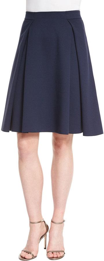 Armani Collezioni Box-Pleated Jersey A-Line Skirt, Astral Blue