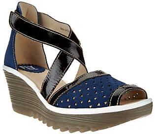 Fly London Leather Peep-toe Cross Strap Sandals- Ynes
