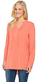Susan Graver Woven Y-Neck Long Sleeve Tunic w/High-Low Hem