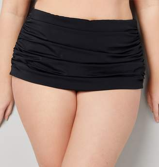 Avenue Plus Size Ruched Swim Brief With Tummy Control