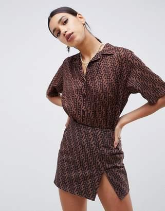 Motel hawaiian shirt in geometric print