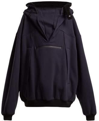 Maison Margiela Oversized Cotton Hooded Sweatshirt - Womens - Dark Blue