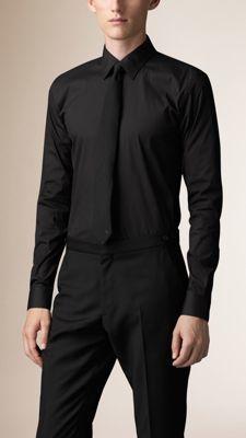 Burberry Slim Fit Stretch Cotton Shirt $325 thestylecure.com