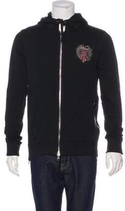 Balmain Crest-Appliqué Zip-Accented Hoodie