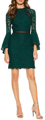Bardot Lace Ruffle Long Sleeve Sheath Dress