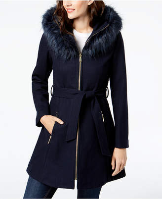 Laundry by Shelli Segal Faux-Fur-Trim Hooded Coat