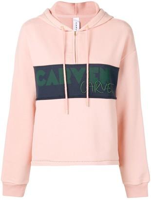 Carven logo panel half-zip hoodie