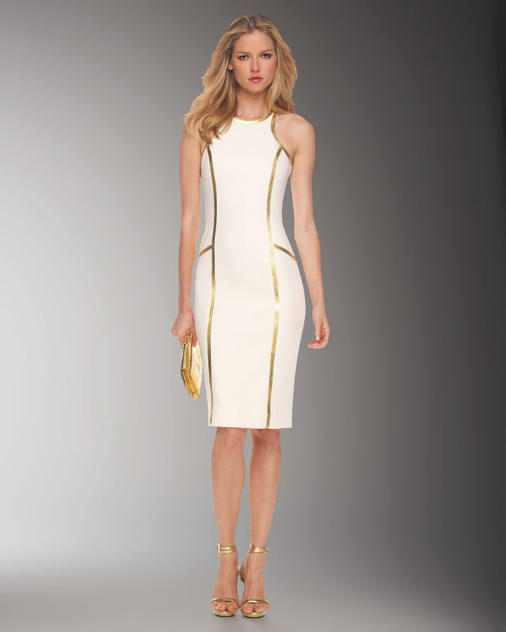Michael Kors Leather-Piped Sheath Dress