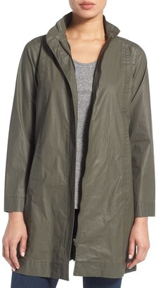 Eileen Fisher Waxed Cotton Stand Collar A-Line Jacket $338 thestylecure.com