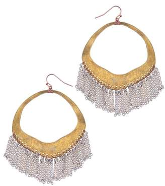 Nakamol Design Chain Fringe Hoop Earrings