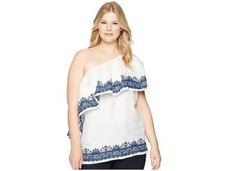 Lauren Ralph Lauren Plus Size One Shoulder Linen Top Women's Clothing