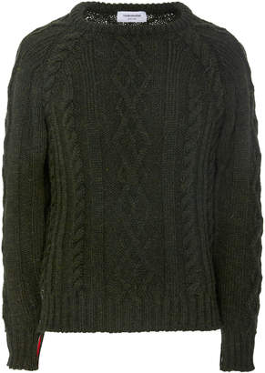 Thom Browne Aran Cable-Knit Crew Neck Sweater