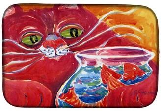Fishbowl Caroline's Treasures Big Red Cat at the Dish Drying Mat