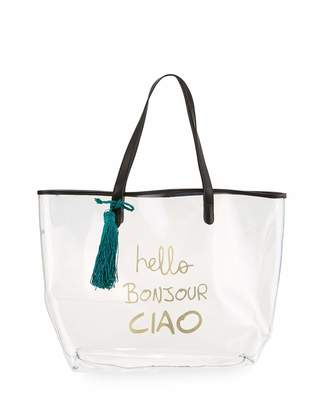 Neiman Marcus Clear Hellos Print Tote Bag, Black $70 thestylecure.com