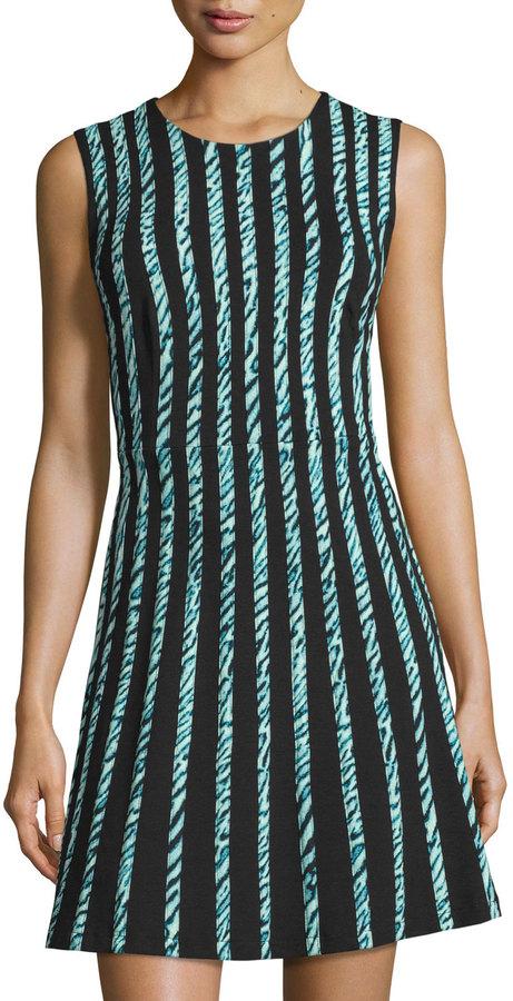 BCBGMAXAZRIABCBGMAXAZRIA Sleeveless Graphic-Striped Dress, Light Aqua