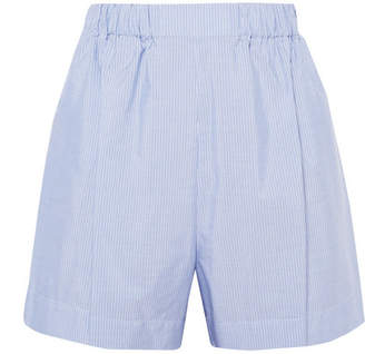 Hillier Bartley - Pinstriped Cotton-poplin Shorts - Light blue