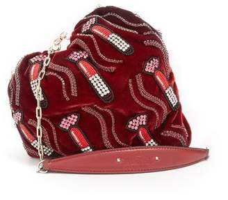 Valentino Carry Secrets Bead Embellished Heart Velvet Clutch - Womens - Burgundy Multi
