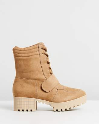 Missguided Lace Up Worker Boots