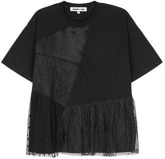 McQ Black Lace And Jersey Top