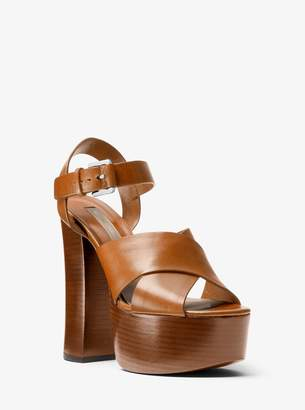 Michael Kors Crista Calf Leather Platform Sandal