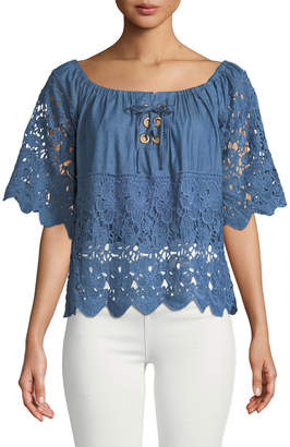 Allison New York Off-The-Shoulder Chambray Lace-Trimmed Blouse